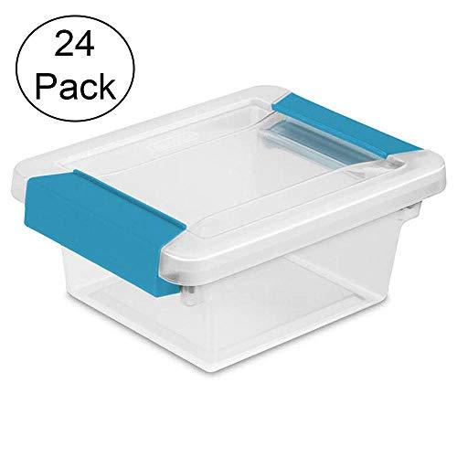 Sterilite Mini Plastic Storage Container Tote Bin with Aquarium Blue Latches and Lid 24 Pack
