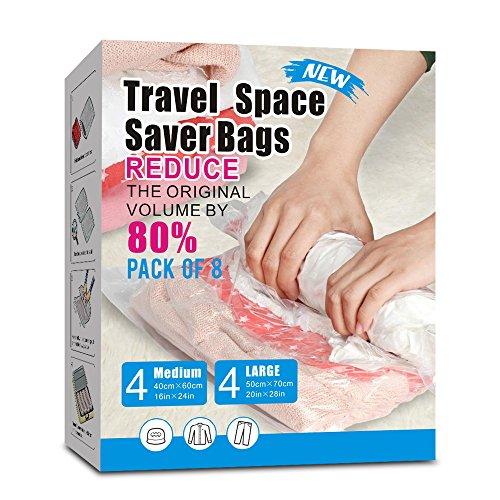 8 Packs Travel Vacuum Storage Bags Portable Compressed Space Saver Bags Roll-Up Zipper Vacuum Bags