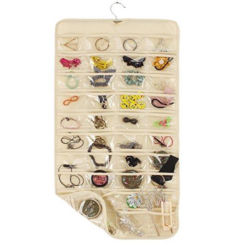 80-Pocket Jewelry Organizer Hanging Closet Accessory Organizer Folding Travel Storage Bag for Necklace Earrings Ring Bracelet Beige 80 Pockets