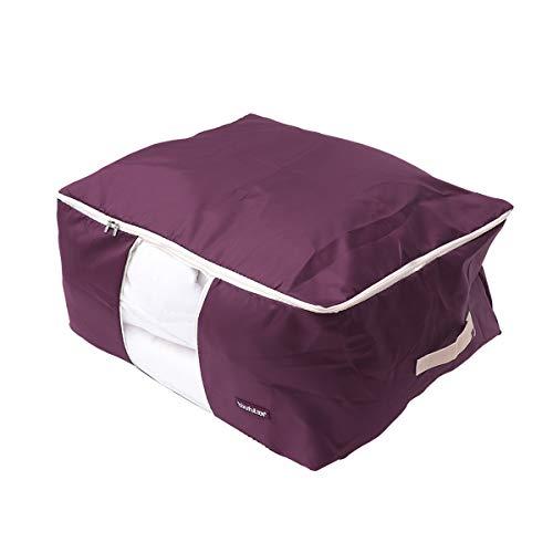 LIOOBO Oxford Quilt Blanket Bag Bedding Storage Bag Oxford Luggage Clothes Bag Organizer Washable - Large Size 60x50x28cm Dark Red