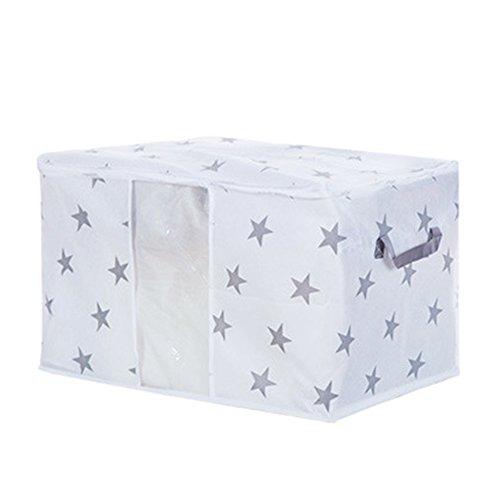 MOOUS Bedding Storage Bags with Zips Handles Blanket Clothes Bedding Duvet Zipped Pillows Non Woven Storage Bag Box Folding Home Organizer Storage Bag Box60x43x36cm2 Star