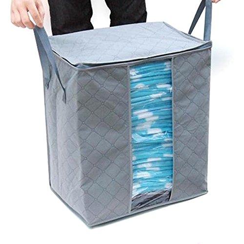 OUNONA 65L Foldable Fiber Zippered 3-Layer Bedding Storage Bags Clothes Blanket Storage Bag Organizer Box Grey