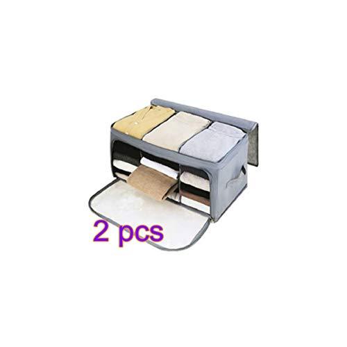 TOPBATHY 2PCS Bamboo Charcoal Clothes Storage Bag Zipper Handles Quilt Bedding Garment Storage Bag Organizer Grey
