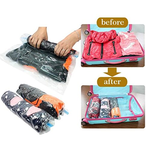 Travel Vacuum Storage Bag Small, Medium to Large No Vacuum Needed Roll-up Compression Storage and Packing Organizer for Clothing Seal Pouch Hand Rolling Vacuum Compressed Bag Space Saver