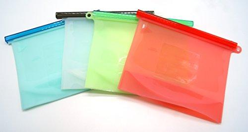 Reusable Silicone Fresh bag Food Preservation Bag Airtight Seal Food Storage Container Versatile Cooking Bag Set of 4PCS