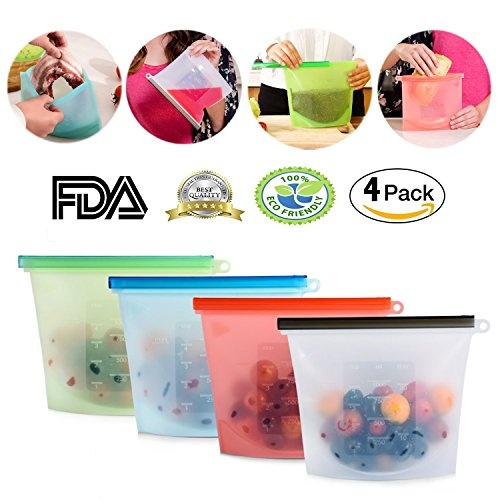 YAHOME Silicone food preservation bag freezer food storage containers airtight bags reusable cooking utensils storage 2pcs