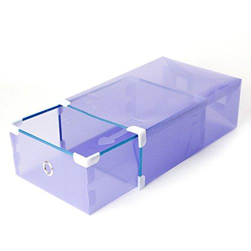 Allrise Shoe Box Drawer-Foldable Plastic Transparent Drawer Case Shoe Storage Stackable Box Organizer purple