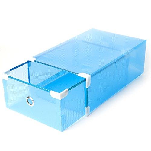 Coldtoy Foldable Plastic Transparent Drawer Case Shoe Storage Stackable Box Organizer Man Style Blue