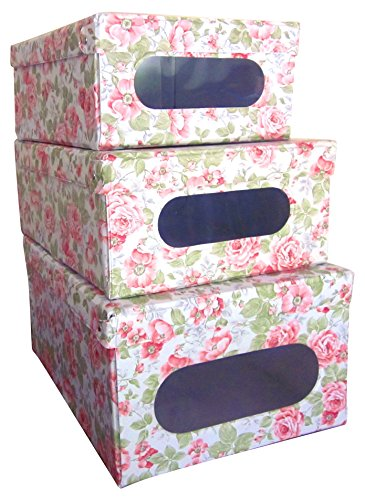 ORDINETT Foldable Hinged Lid Closet or Garage Storage Boxes Stackable Storage and Organization Vinyl Covered Inside Out See Through Window English Rose Italian Set of 3