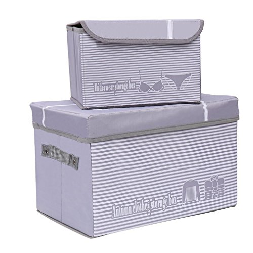 Set of 2 Storage Boxes Foldable Storage Cubes Bin Box Containers with Lid - for Home Nursery Closet Bedroom Living Room Grey