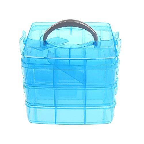 Bettal 1Pc 3-Layers Desktop Storage Box Transparent Plastic Holder Organizer Cabinets Blue