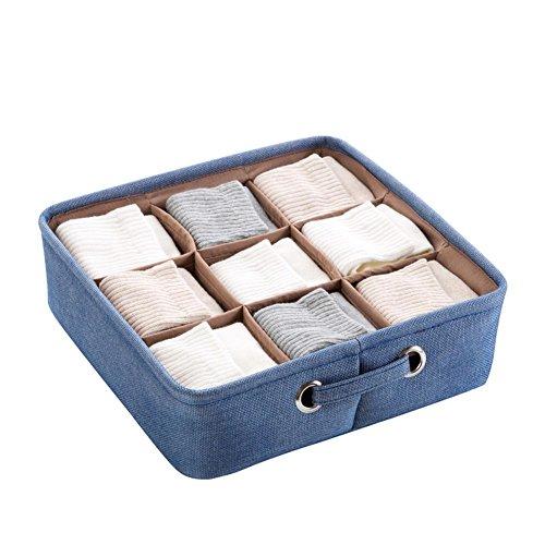 Blue Storage Boxes Organizer for Underwear Bra Folding Closet Drawer Divider Boxes for Ties Socks Bra Underwear Organizer