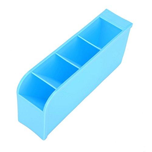 HOUSWEETY 1PC Blue Storage Box 4 lattice Jewelry Cosmetic Stationery Organizer 9x20cm