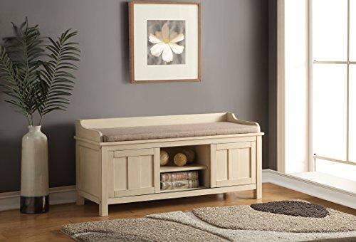 ACME Furniture 96620 Rosio Bench with Storage Fabric Cream