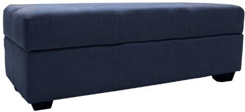 Epic Furnishings Vanderbilt Loveseat Tufted Padded Hinged Storage Ottoman Bench with Storage Area Divider Microfiber Suede Dark Blue