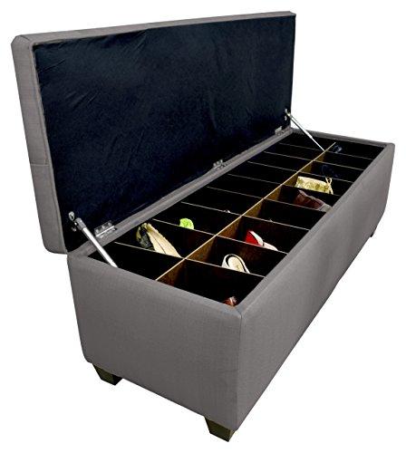 MJL Furniture Designs Diamond Tufted OttomanBedroom Bench with Shoe Storage 20 x 54 x 18 Grey