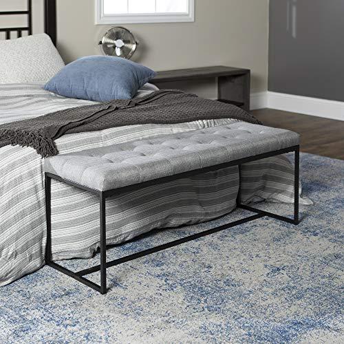Walker Edison Furniture Company Modern Tufted Upholstered Entryway Cushion Hallway Metal Bedroom Bench Ottoman Grey