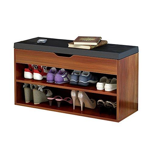 Dland Storage Bench Hall Entryway 2-Tier Shoe Bench Racks Leather Top Sofa Style Black