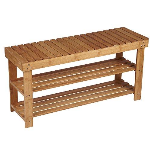 Household Essentials Bamboo 2-Shelf Storage Bench Seat Natural