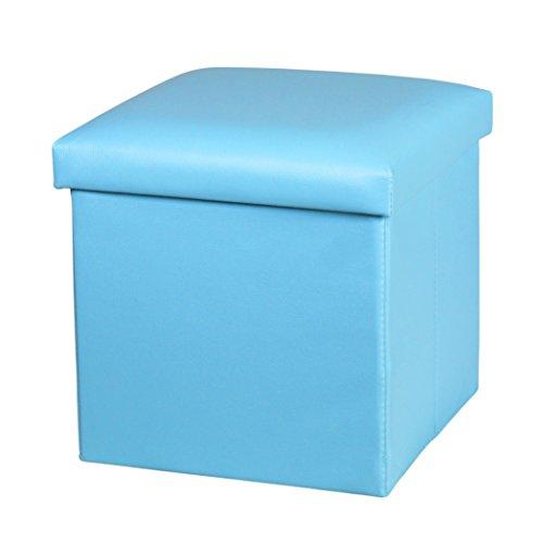 NISUNS OT01 Leather Folding Storage Ottoman Cube Footrest Seat 12 X 12 X 12 Inches Sky Blue