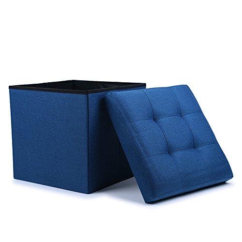 WoneNice Folding Storage Ottoman Cube Foot Rest Stool Seat Linen Navy