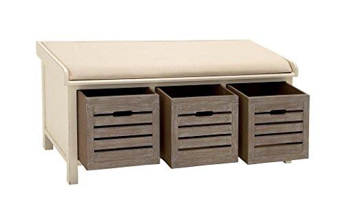 Deco 79 96344 Beige Wood Storage Bench with Cushion 3 Drawers 42 x 20
