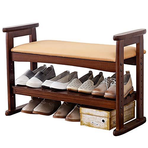 Dertyped Shoe Rack Shoe Rack Wooden Bench with Adjustable Handle Corridor Storage Bench with Cushion Multi-Purpose Shoe Rack Shoe Organizer Storage Shelf Ideal for Entryway