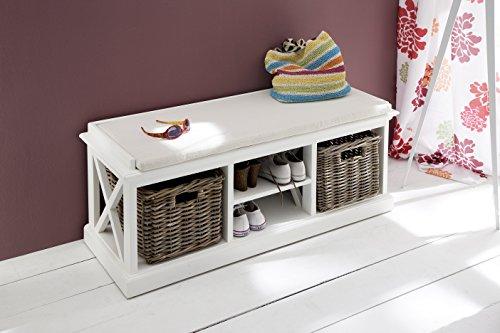 NovaSolo Halifax Pure White Mahogany Wood Storage Bench With Cushion Shelf And 2 Rattan Baskets