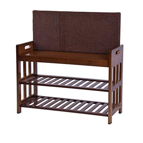 SuperUS Change Shoe Bench Bamboo Shoe Rack Entryway Shoe Storage Household Shelf Shoe Bench with Cushion Amber 70x30x50cm