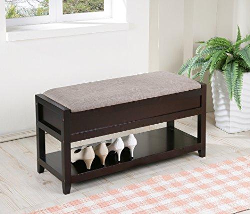 Gray Linen Fabric Entryway Shoe Bench Shelf Storage Organizer
