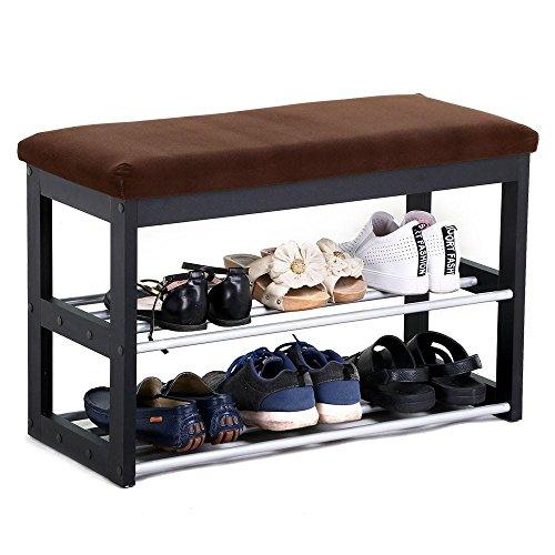 Yaheetech Black Wood Entryway Shoe Storage Bench 2 Tier Organizer ShelfRack Footstool Cushion Padded Stool