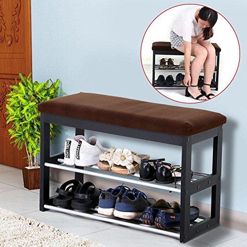 go2buy 2 Tier Shoe Storage Bench Organizer ShelfRack with Flannelette Fabric Cushion Padded Stool EntrywayHallway Footstool  Black Brown