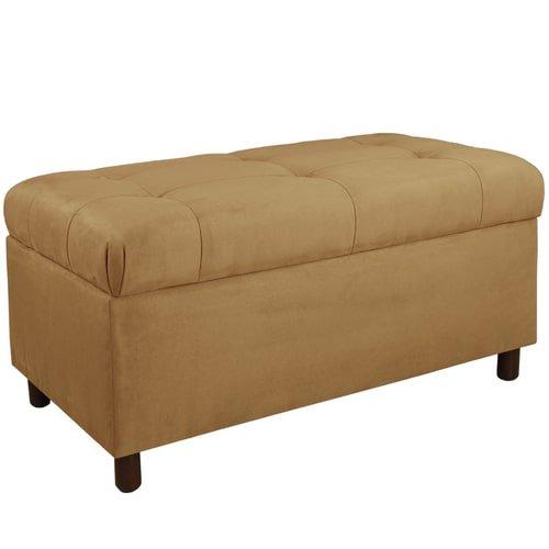 Skyline Furniture Tufted Storage Bench in Premier Saddle
