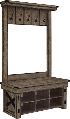 Altra Furniture Wildwood Wood Veneer Entryway Hall Tree with Storage Bench Rustic Gray