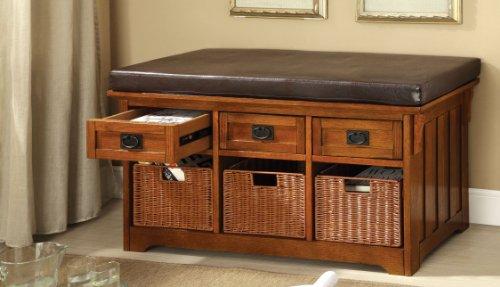 42-inch Yani Antique Oak 3-drawer Basket Storage Cushioned Bench