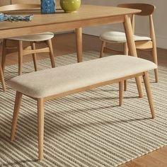 MID-CENTURY LIVING Norwegian Danish Modern Tapered Upholstered Bench Natural