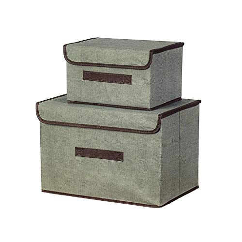Yxsd Set of 2 Fabric Storage Boxes with Lids Foldable Storage Cube Organizer Bins Color  Gray
