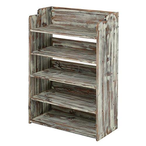 5 Tier Rustic Torched Wood Entryway Shoe Rack Storage Shelves Closet Organizer Shelf