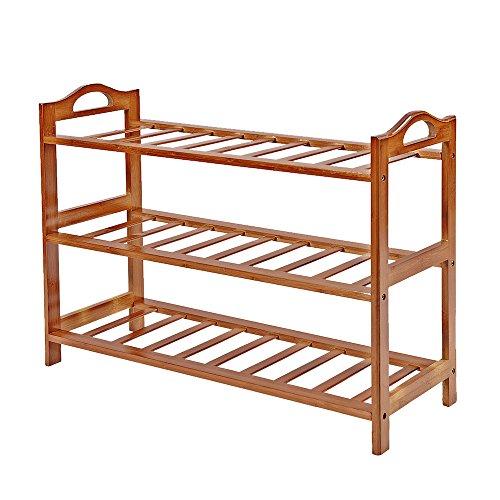 Fibevon Bamboo Shoe Rack 3-Tier Entryway Shoe Shelf Storage Organizer 264x96x205