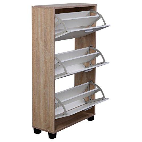 New 3 Drawers Wood Furniture Entryway Shoe Rack Storage Cabinet