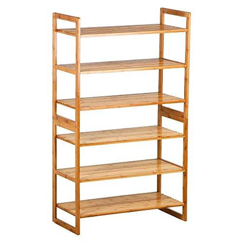 Yaheetech Bamboo 6-Tier Shoe Rack Entryway Shoe Shelf Storage Organizer