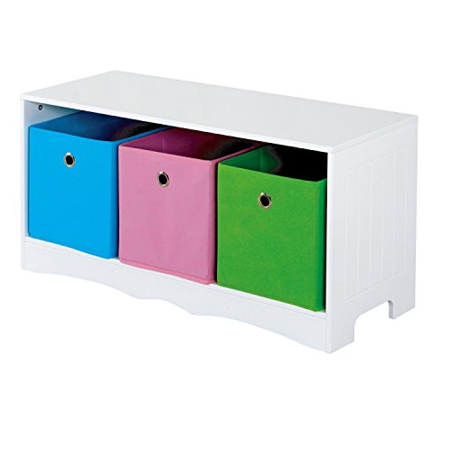 Kids Storage Bench with 3 Bins White Contemporary Modern Kids Storage Organizer - 1575 in High x 32 in Wide x 118 in Deep