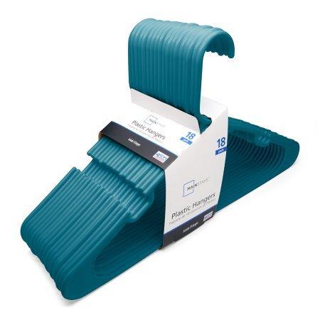 Mainstays Standard Plastic Hangers - Corsair Blue 18-count
