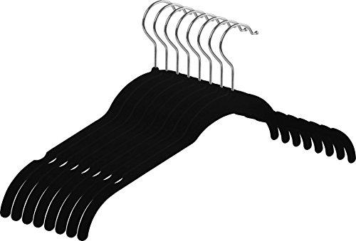 Zoyer Velvet Shirt Hangers - 50 Pack - Premium Velvet SuitDress Hanger - Heavy Duty Non Slip Standard Hangers - Black