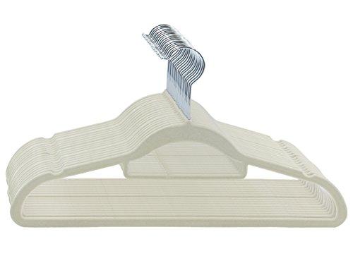 ESYLIFE Velvet Hangers 50 Pack with Tie Scarf Bar Non Slip Ultra Thin Suit Hangers Beige