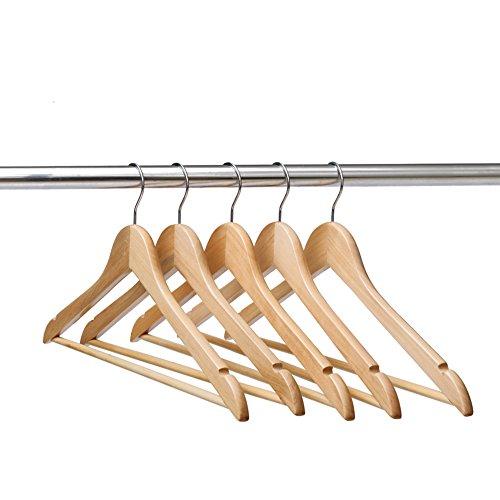 Ezihom Gugertree Solid Wooden Suit Hangers Coat Hangers Wood Clothes Hanger Natural Finished 10 Pack