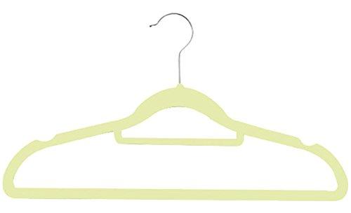 Zen Closet Ultra Thin Heavy Duty No Slip Velvet Suit Hangers with Tie bar 50 Pack  Beige