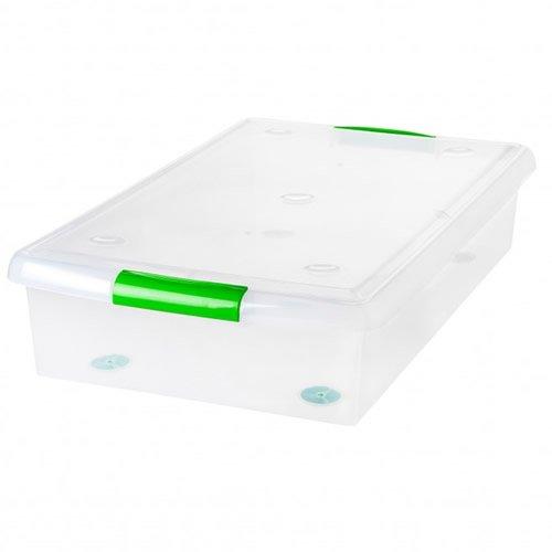 """IRIS 40 Quart Store Slide Underbed Box - 285 L x 18 W x 63"""" H 1 Box"""