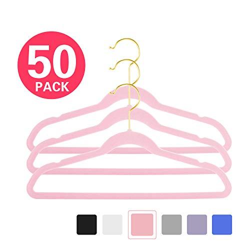 MIZGI Premium Kids Velvet Hangers Pack of 50 14 Wide with Gold HooksSpace Saving UltrathinNonslip Hangers use for Petite Junior Childrens Skirt Dress PantsClothes Hangers Pink