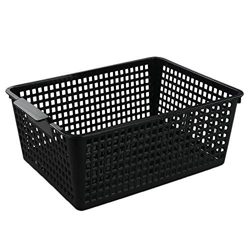 Begale Large Plastic Storage Bins Basket Organizer Black Set of 3